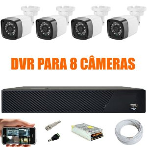Kit Cftv 4 Cameras Hd 720P IR 30M + Dvr 8 Canais - Sem HD