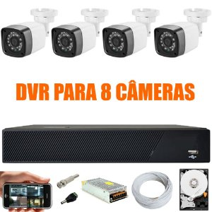 Kit Cftv 4 Cameras Hd 720p Infravermelho 30m + Dvr 8 Canais Multi Hd Com HD 500GB