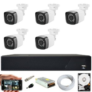 Kit Cftv 5 Cameras Hd 720p Infravermelho 30m + Dvr 8 Canais Multi Hd Com HD 2TB