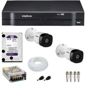 Kit 2 Cameras Intelbras 1120 B + Dvr Mhdx 1104 + HD 2TB Purple