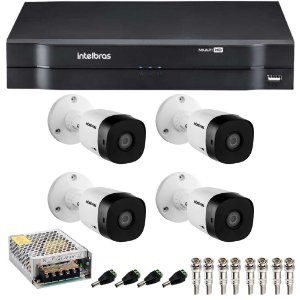 Kit 4 Cameras Intelbras 1120 B + Dvr 4ch Mhdx 1104 - Sem HD