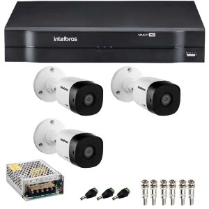 Kit 3 Cameras Intelbras 1120 B + Dvr 4ch Mhdx 1104 - Sem HD