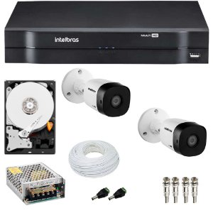 Kit 2 Cameras Intelbras 1120 B + Dvr 4ch Mhdx 1104 + HD 500GB