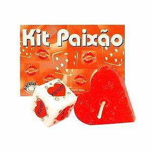 Kit Paixão vela coração vermelha e dado erótico