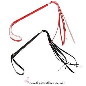 Chicote Fino com alça em couro sintético vermelho ou preto