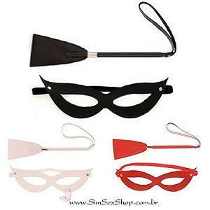 Kit Tiazinha máscara e chibatinha em couro sintético