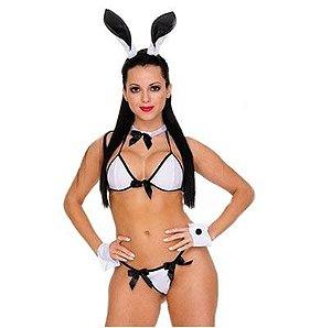 Fantasia Sexy Coelhinha branca e preta