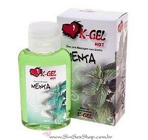 Óleo beijável para massagem K-Gel Hot menta 30 ml