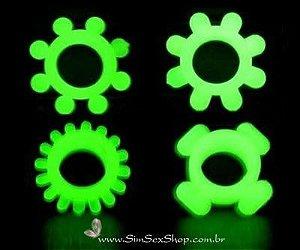 Anel peniano retardador Love Ring fluorescente (brilha no escuro)