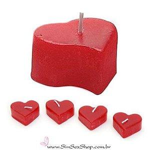 Vela coração média 4,5 x 2,3 cm vermelha