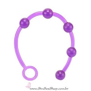 Plug anal cordão flexível em jelly com 5 bolinhas de 2 cm