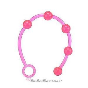 Plug anal cordão flexível em jelly com 5 bolinhas de 2 cm pink