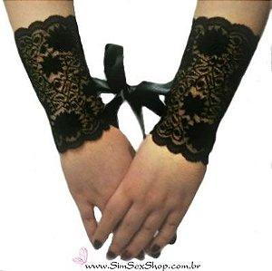 Algemas Sexy em renda elástica 15 cm com fitas para amarrar cor preta