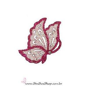 Tatuagem de pele borboleta pink com glitter