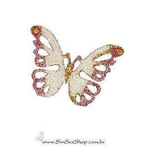 Tatuagem de pele borboleta rosa com glitter