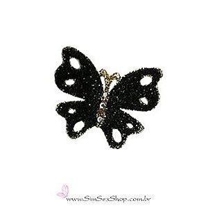 Tatuagem de pele borboleta preta com glitter