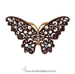 Tatuagem de pele borboleta dourada com glitter
