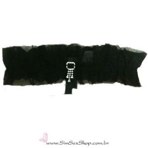 Persex em tule fino com pingente de strass cor preta
