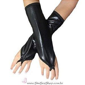Luvas tecido vinil dedos aparentes tamanho único cor preta