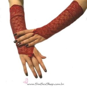Luvas em tule bordado e renda floral elastizada dedos aparentes cor vermelho rubi