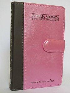 A Bíblia Sagrada Super Legível  - Letra Gigante Capa Rosa com Marrom