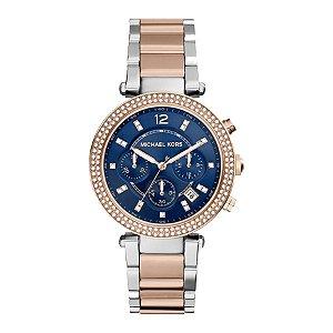 Relógio Michael Kors Rose Com Prata Original MK6141