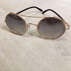 Óculos Fashion Dourado Espelhado