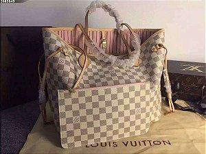 Bolsa Louis Vuitton Damier Azur Neverfull ( Edição Limitada ) Rosa
