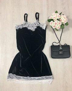 Vestido Veludo Renda