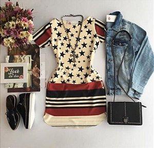 Vestido Neoprene Estrelas M.a