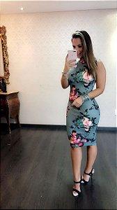 Vestido Midi Gola Alta Neoprene Laura M.a
