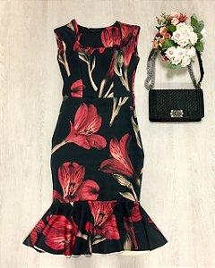 Vestido Midi Flores Neoprene