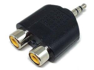 Adaptador 2 RCA Fêmea X P2 Macho Stéreo Plástico