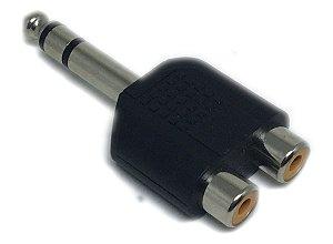 Adaptador 2 RCA Fêmea para 1 P10 Macho Estéreo