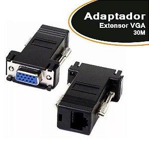 Adaptador Extensor VGA Lan Cat5 Cat6 Rj45 Rede 30m - o Par