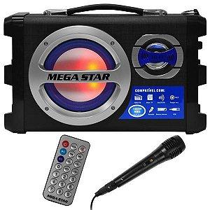 "Caixa Karaokê MegaStar HY-K55BTA 6"" 20W com Bluetooth/USB/SD/FM + Microfone"
