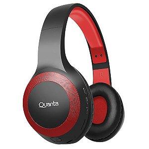 Fone de Ouvido Sem Fio Quanta QTFOB80 com Bluetooth / FM / Auxiliar - Preto / Vermelho