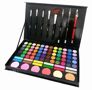 Jasmyne - Estojo de Maquiagem V248 - Kit Sombra, Blush, Pó, Lápis para Olhos e Boca, Pincéis