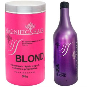 Magnific Hair - Kit Pó Descolorante Rosa + Água Oxigenada BLOND 30 volumes