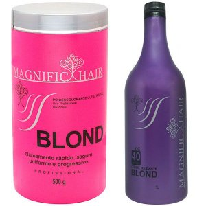 Magnific Hair - Kit Pó Descolorante Rosa + Água Oxigenada BLOND 40 volumes