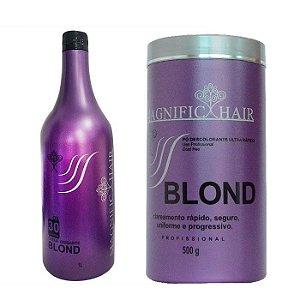 Magnific Hair - Blond Pó Descolorante Ultra Rápido (Roxo) + Água Oxigenada 30 Volumes