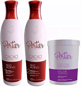 Portier - Kit Escova Progressiva Cacao 2x1 + Máscara Redutora de Volume Ciclos Violet 1kg (Creme Alisante)