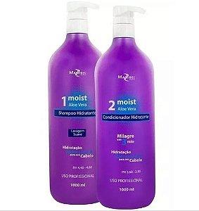 Mairibel Cosméticos - Kit Shampoo e Condicionador Moist Aloe Vera 1L Cada