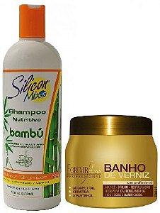 Forever Liss - Kit Crescimento Saudável - Shampo 236ml Bambú Silicon Mix + Banho de verniz 250g