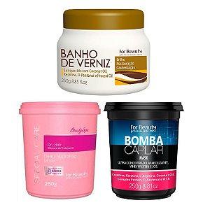 For Beauty - Cronograma Capilar 250g (Dr. Hair + Bomba Capilar + Banho de Verniz)
