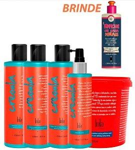 Lola Cosmetics - Creoula Kit Shampoo + Condicionador + Creme Calmante + Máscara 930g + Água de Coco + Umidificador de Cachos.