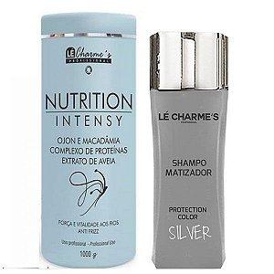 Lé Charme's - Kit Shampoo Matizador Silver 300ml + Nutrition Intensy Máscara de Hidratação Antifrizz 1kg