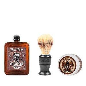 Cavalera - Kit Loção Pós Barba 100ml + Creme de Barbear + Pincel Cerdas Sintéticas
