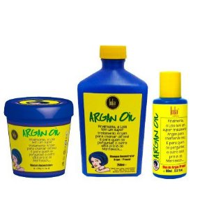 Lola Cosmetics - Kit Argan Oil Pracaxi (Shampoo 250ml + Máscara Reconstrutora 230g + Óleo 60ml)