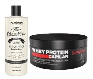 Plancton - Kit Shampoo Liso Absoluto The Grand Cru 500ml e Whey Protein Reconstrução Capilar 250g